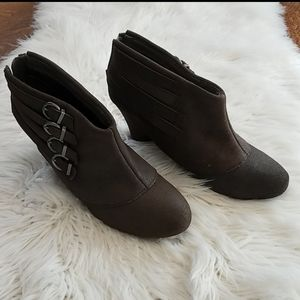Brown Ankle Booties with Buckles and Wedge Heel